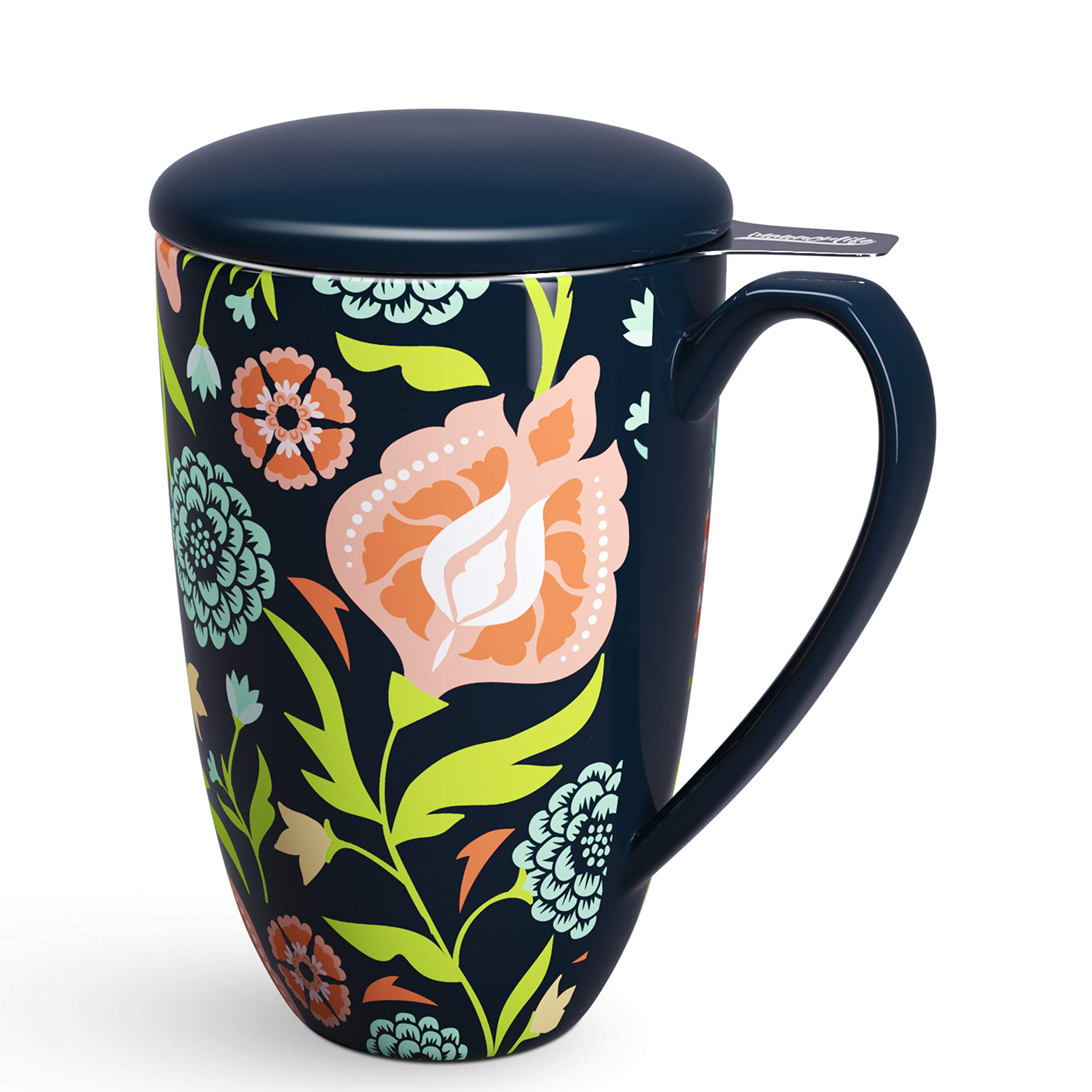 immaculife Tea Cup with Infuser Tea Mug with Infuser and Lid Teaware with Filter 15oz, Black Flower