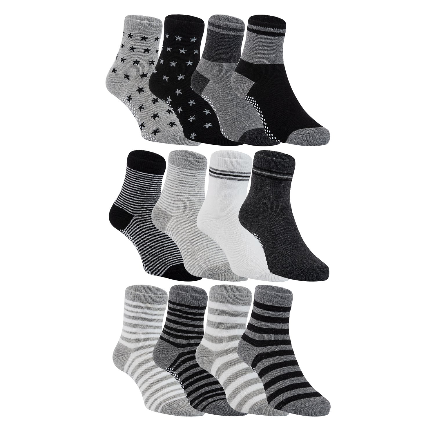 Lian LifeStyle Unisex Baby's 12 Pairs Pack Non-Skid Cotton Socks 6M-3Y Multiple Color