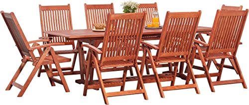 Vifah Malibu Outdoor 9-Piece Wood Patio Dining Set