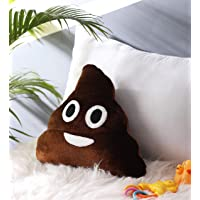 Oscar Home Poo Emoji Shape Velvet Plush Poly-Fiber Filling Stuffed Pillow with Appliqué Embroidered Soft Toy for Kids (Brown, 14x14 Inches)