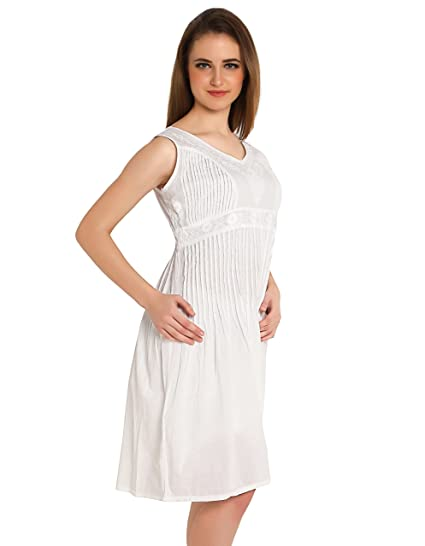 91bdf21049 indiankala4u Ladies Women Chikankari Hand Embroidered Skater Dresses  Cinched Waist Tops,Cotton White: Amazon.in: Clothing & Accessories