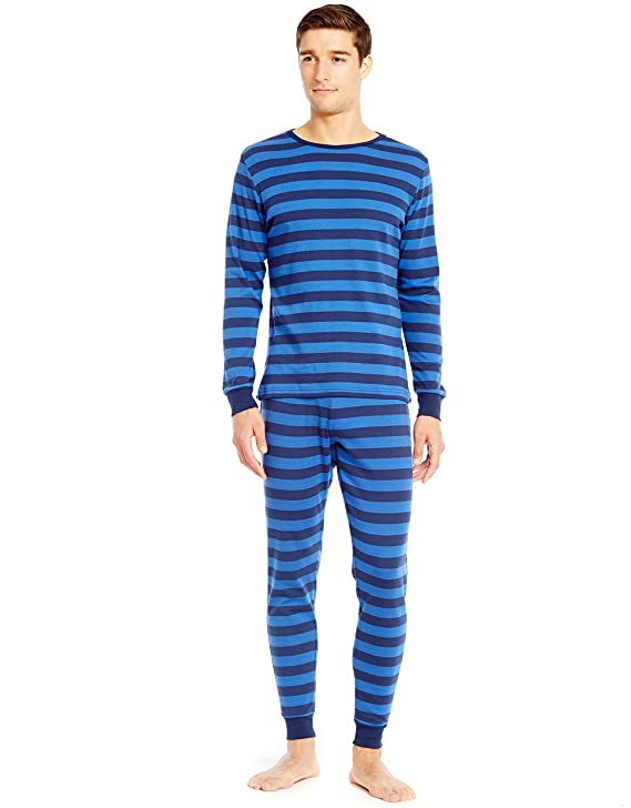 Leveret Mens Pajamas Fitted Striped Christmas 2 Piece Pjs Set 100% Cotton Sleep Pants (Medium, Blue/Navy) best men's winter pajamas