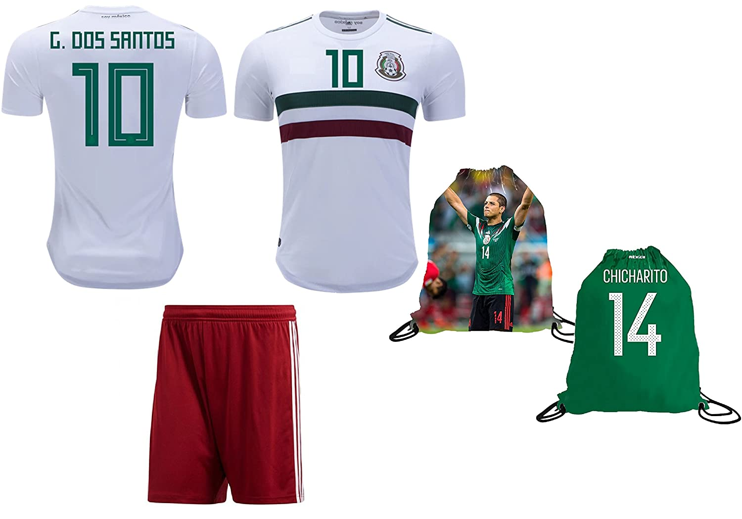 8560ede8881 Amazon.com : Mexico Dos Santos #10 Soccer Jersey & Shorts Away World Cup  Youth Kids Sizes Premium Gift ✓ GIFT PACKAGING Soccer Backpack (YL 10-13  Years, ...
