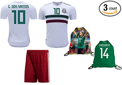 Mexico Dos Santos  10 Soccer Jersey   Shorts Away World Cup Youth Kids  Sizes Premium 818dacba1