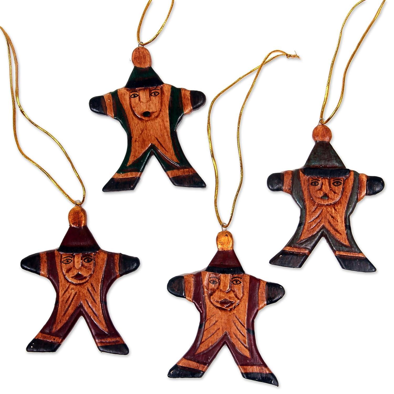 Set of 4 NOVICA HD0004 Happy Red Santa Wood Ornaments