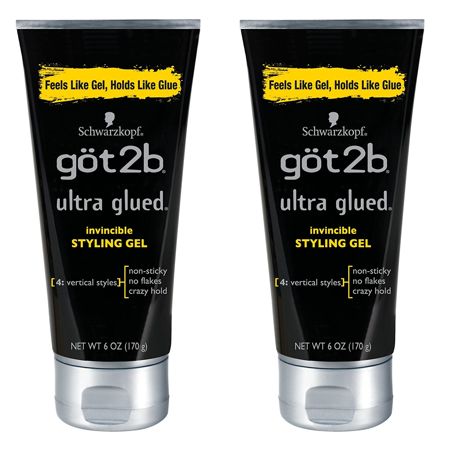 Got2b Ultra Glued Invincible Styling Hair Gel, 6 Ounces (Pack of 2) four21-five02-jooi218