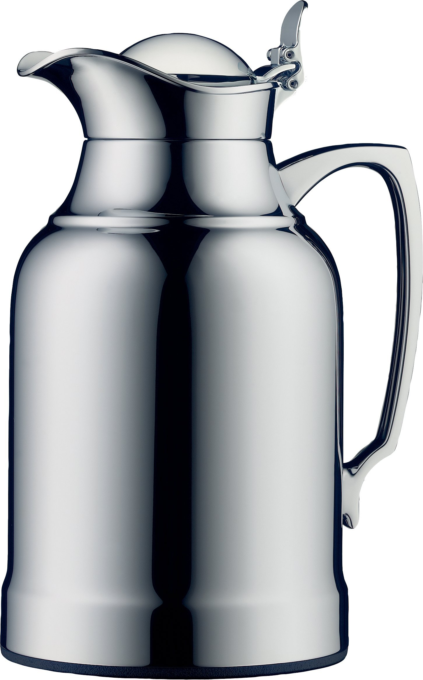 alfi Opal Glass Vacuum Chrome Plated Brass Thermal Carafe for Hot and Cold Beverages, 1.0 L, Chrome
