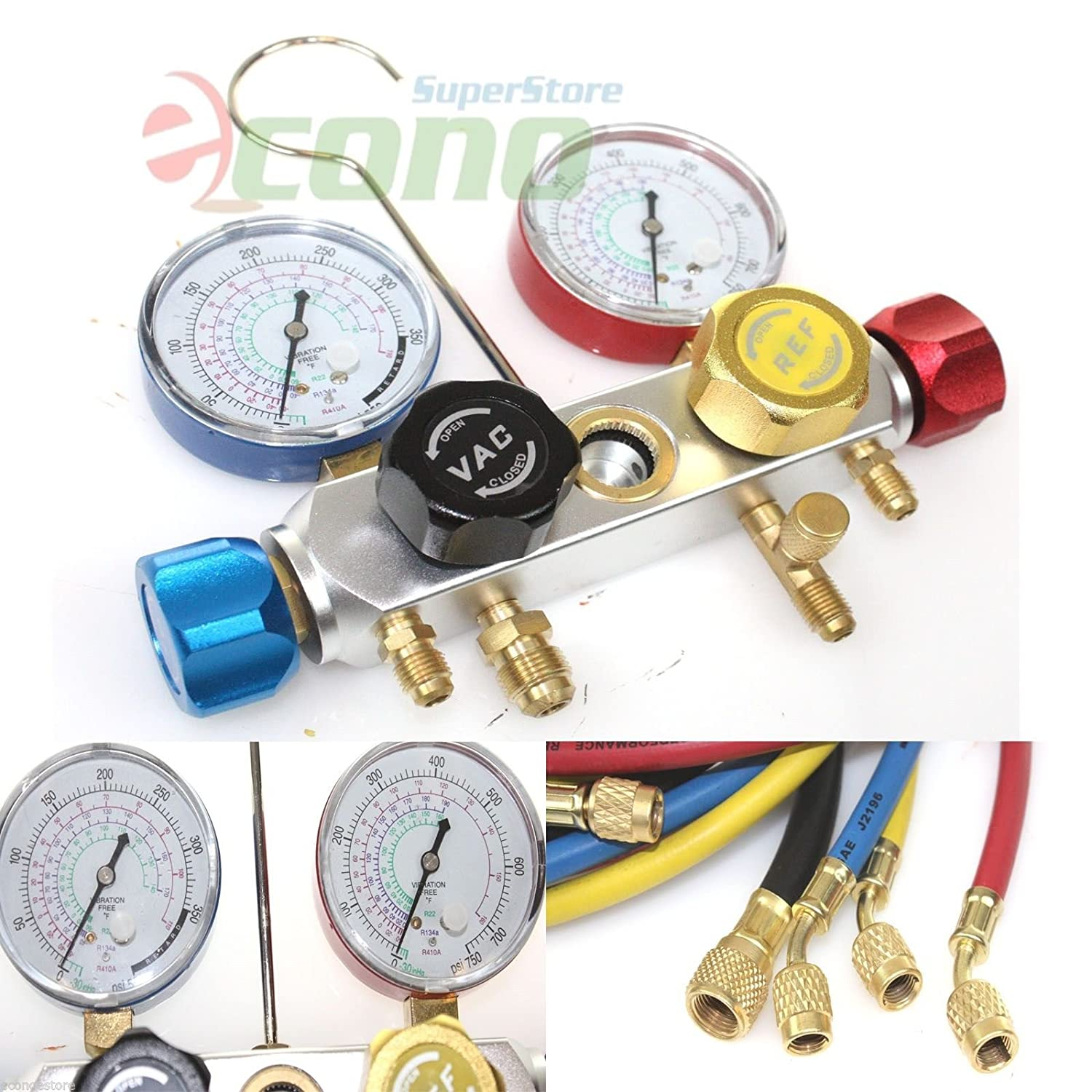 1//2 ACME Adapter Coupler Adapters 4 Way AC Manifold Gauge Set R410a R22 R134a w//Hoses