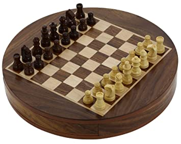 Round Wooden Chess Board And Pieces Set Unique Compact Box