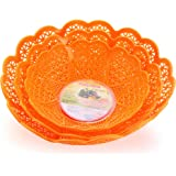 Nayasa Heart 3 Piece Plastic Fruit Basket Set, Orange
