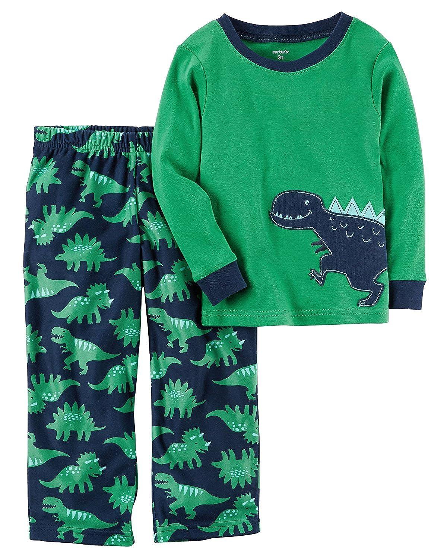 fd8c2abc97bc Amazon.com  Carter s 2-Piece Boys Fleece Pajamas Top and Pants Winter Set  (Dinosaur Green Navy
