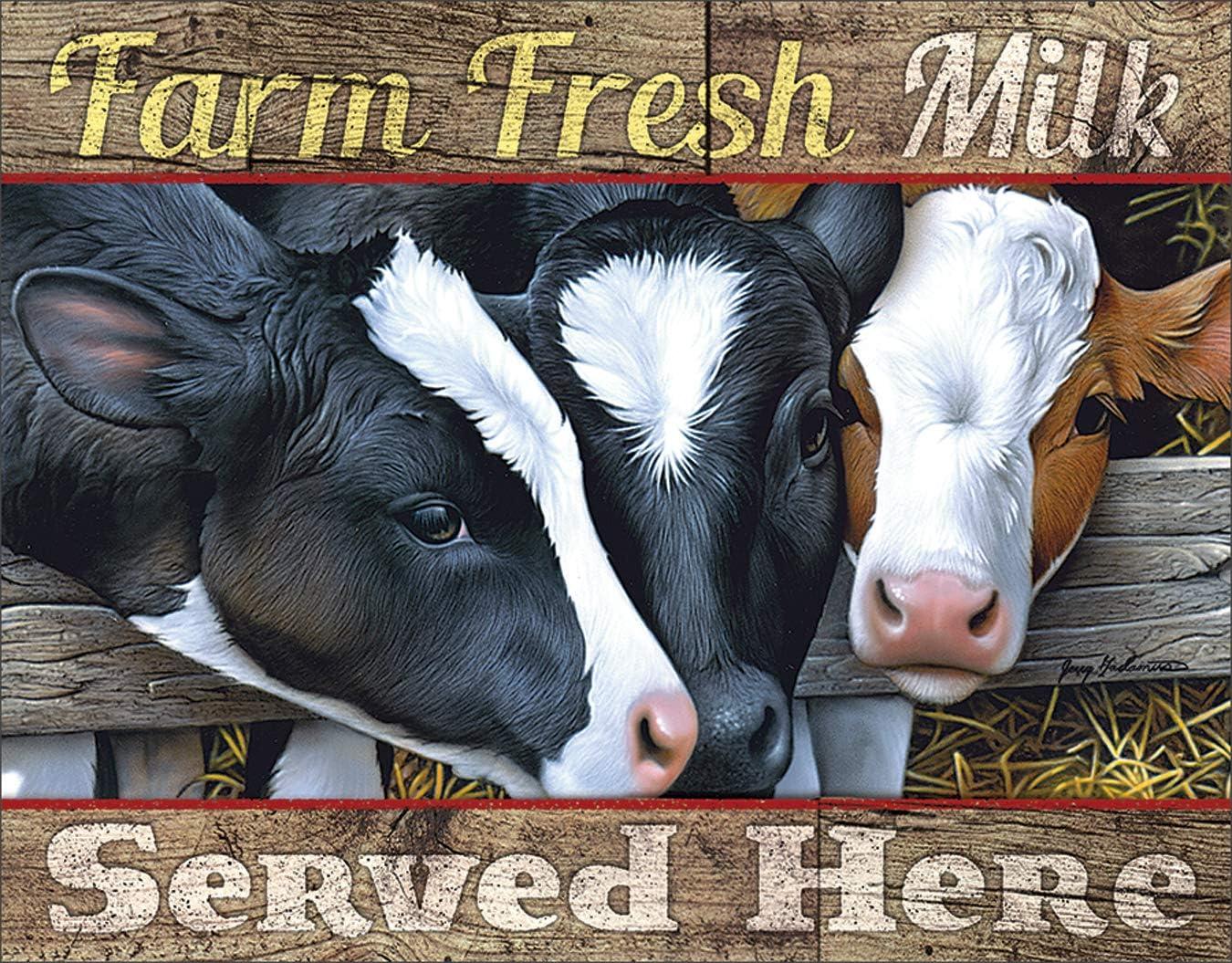 "Desperate Enterprises Farm Fresh Milk Tin Sign, 16"" W x 12.5"" H"