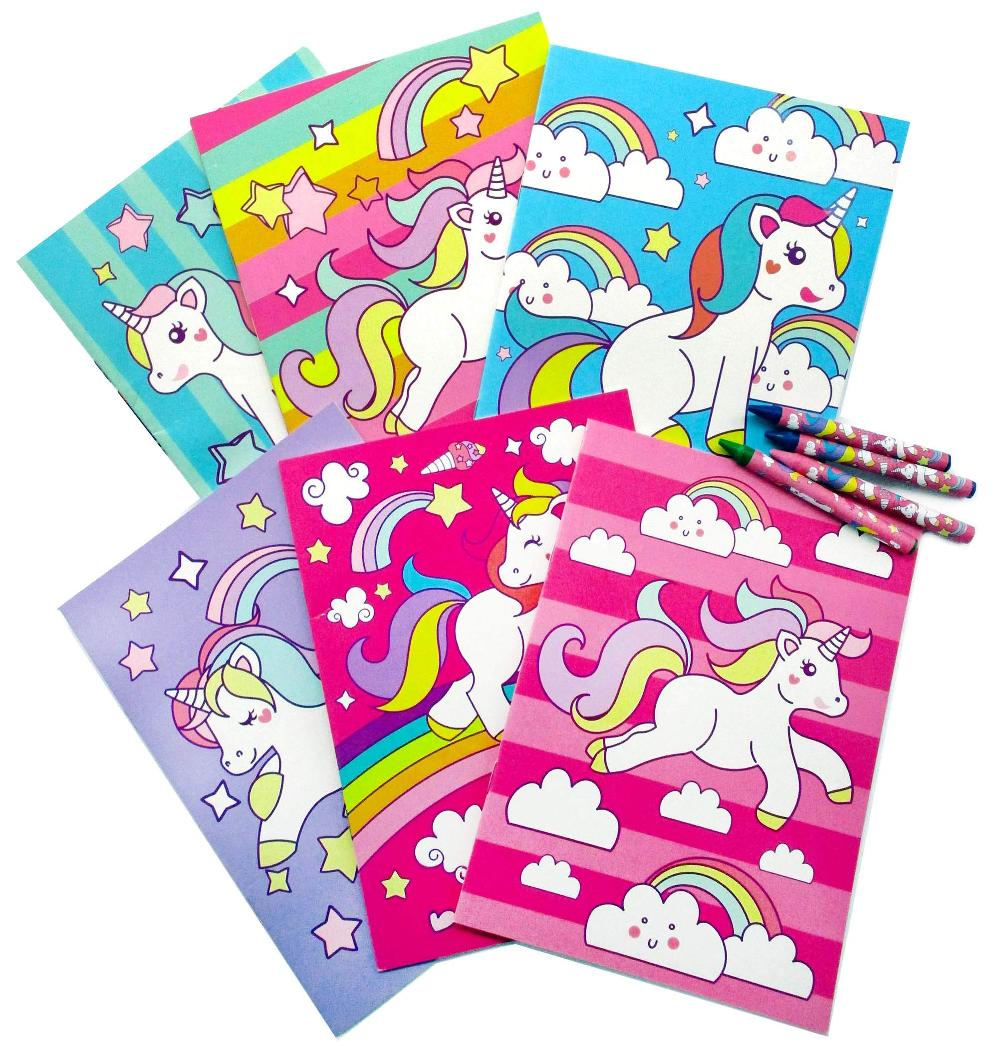 Unicorn Coloring Books with Crayons Party Favors, Set of 12 4
