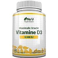 Vitamine D3 3000 IE - 365 Softgels (Jaarvoorraad) - Driedubbele Sterkte Vitamine D3 Supplement - Hoge Absorptie…