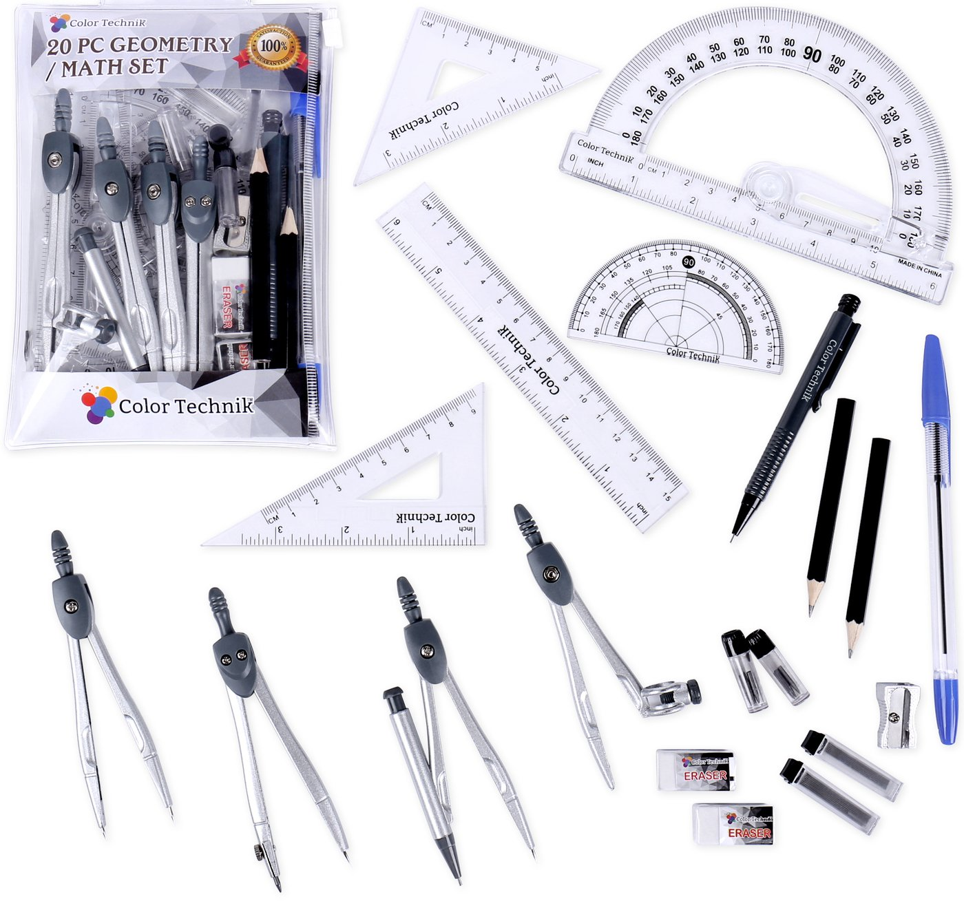 Color Technik- 20 Pc Compass/Math Set with Swing Arm Protractor (6''), Geometry Set for Students, Divider, Set Squares, Ruler, Protractor etc. Perfect Gift