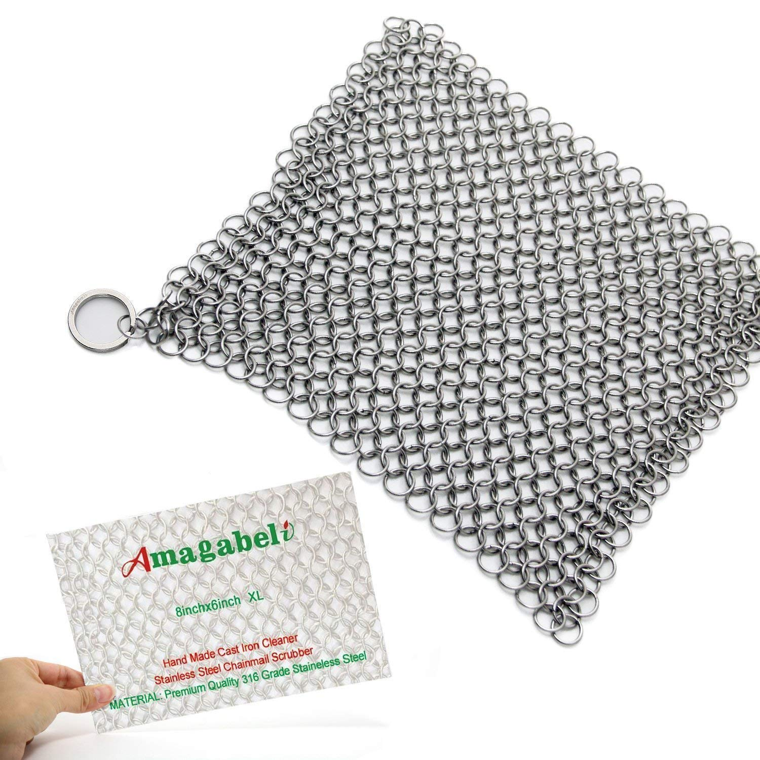 "Amagabeli 8""x6"" Stainless Steel Cast Iron Cleaner 316 Chainmail Scrubber for Cast Iron Pan Pre-Seasoned Pan Dutch Ovens Waffle Iron Pans Scraper Cast Iron Grill Scraper Skillet Scraper"