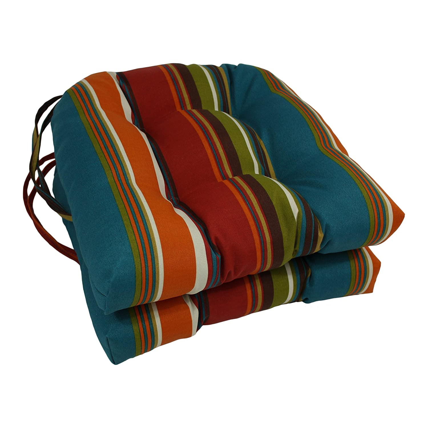 Blazing Needles Spun Polyester Patterned Outdoor U-Shaped Tufted Chair Cushions Set, Set of 2, 16 , Westport Teal