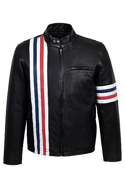 EASY RIDER Chaqueta de cuero de piel de cordero real de NEGRO Motorcycle Style Biker