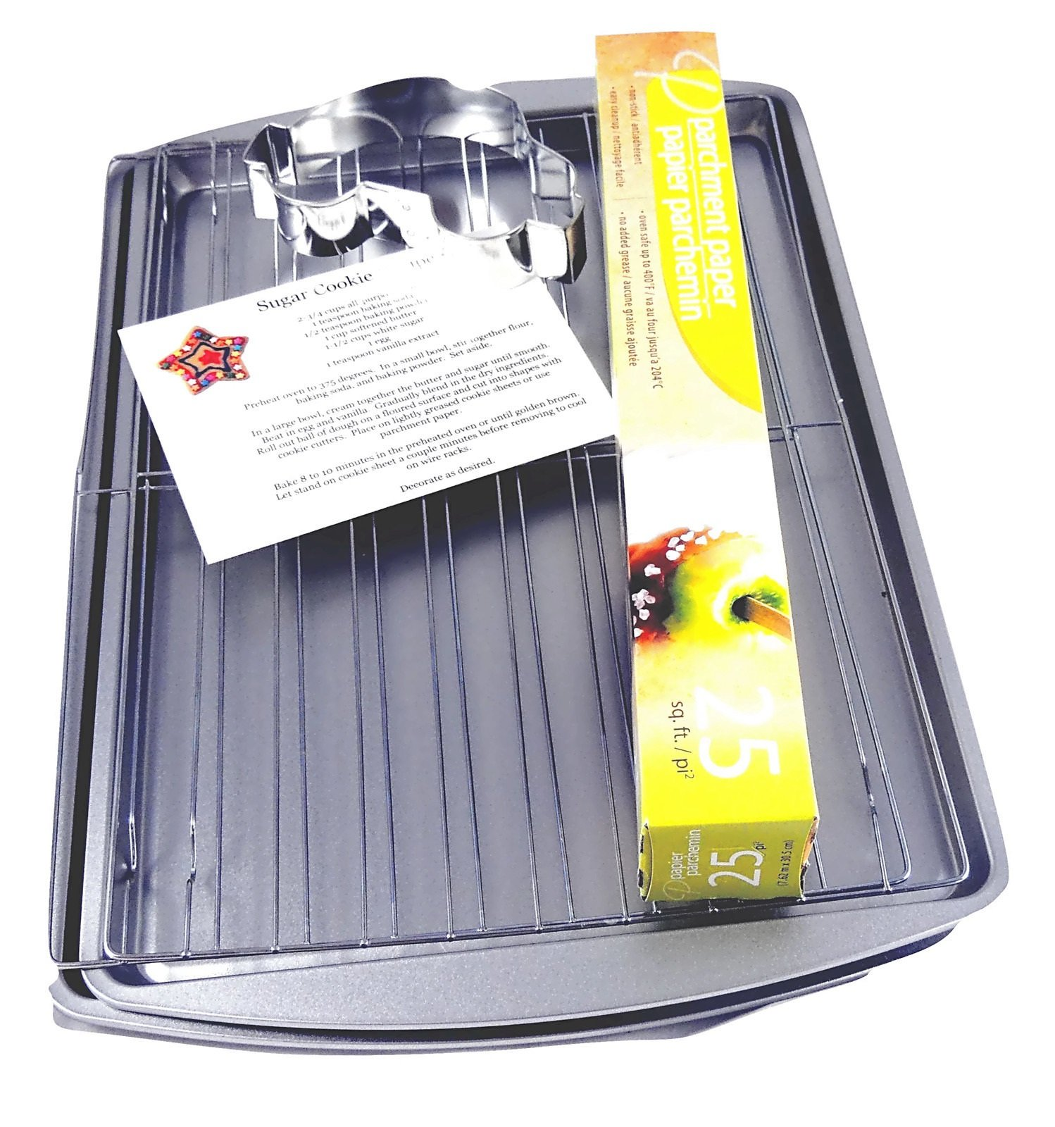 Cookie Sheets for Baking Bundle with Cooling Racks, Parchment Paper, Cookie Recipe Card, and Bonus Cookie Cutter (7 Items)