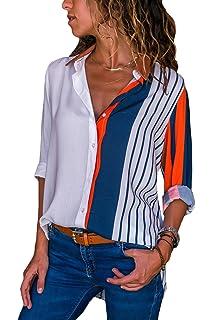 fbd6db51 Aleumdr Mujer Camisa Talla Grande de Rayas Blusa Cuello V Camiseta de Mujer  Naranja Size L