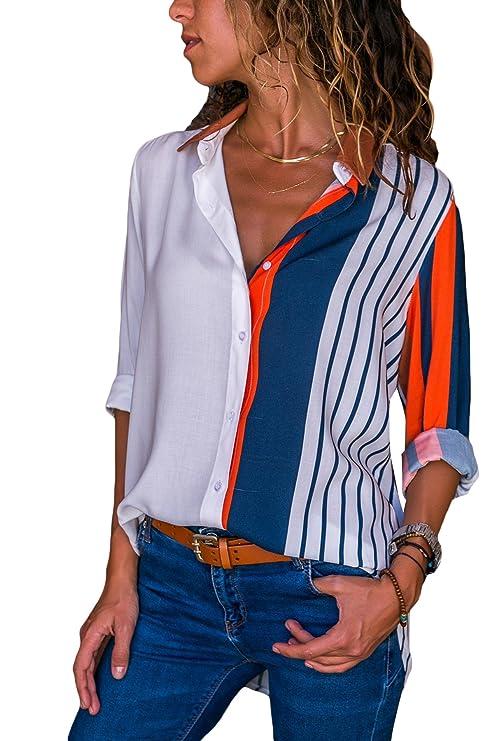Aleumdr Mujer Blusa Cuello En V Camiseta de Mangas Largas Camisa con Botones Size S-XXL