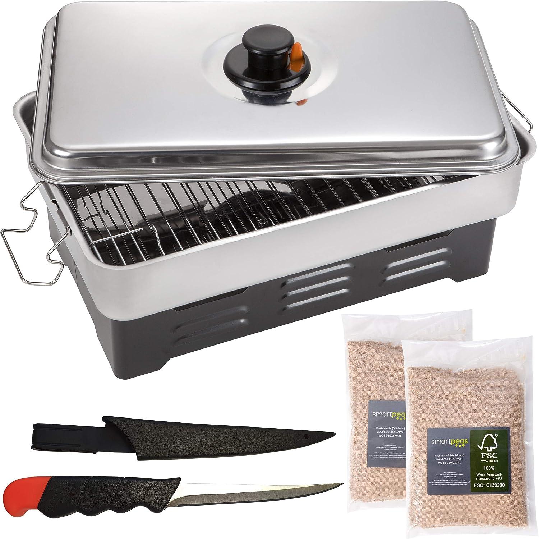 smartpeas ahumador de Alimentos – Horno de Pescado/Carne en Cocina – aumadores barbacoas +MÁS: 2X astillas de Madera y Cuchillo