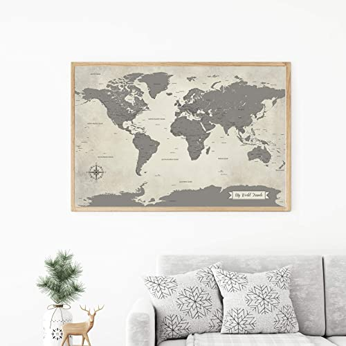 Grey world map with pins - Paper Anniversary Gift For Men - Very Detailed -  large World Push Pin Map 24 x 36 inches print