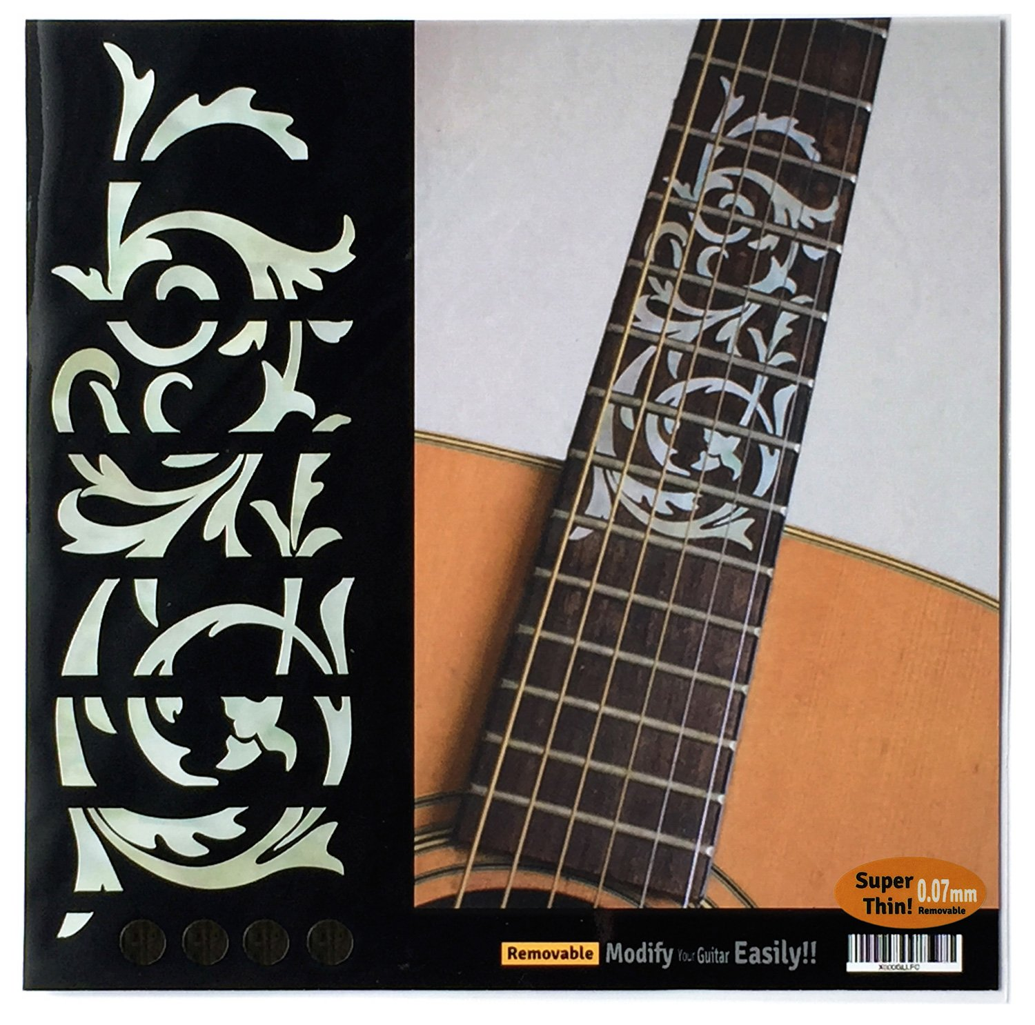 Ornamental Swirl Fretboard Markers Inlay Stickers Decals for Guitars White Pearl