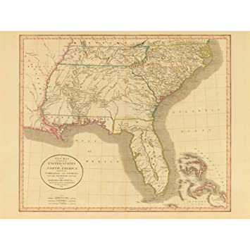 Amazon Com Map Antique 1812 United States America South East