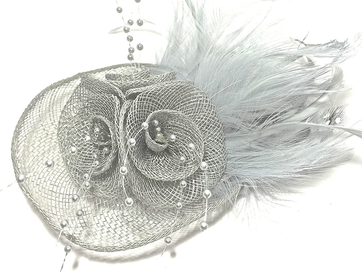 7a2a75e1 Stunning quality hatinator in silver grey hessian and tiny beads secured on  clip and brooch back: Amazon.co.uk: Beauty