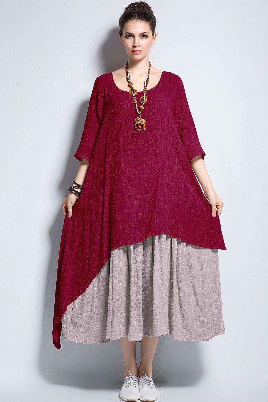 Anysize Fake Two Piece Linen Cotton Dress Spring Summer Plus Size Dress Y111