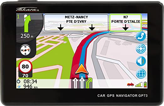 Takara GP73BCAV - Navegador GPS para coche (mapas de Europa Occidental, pantalla de 4,3