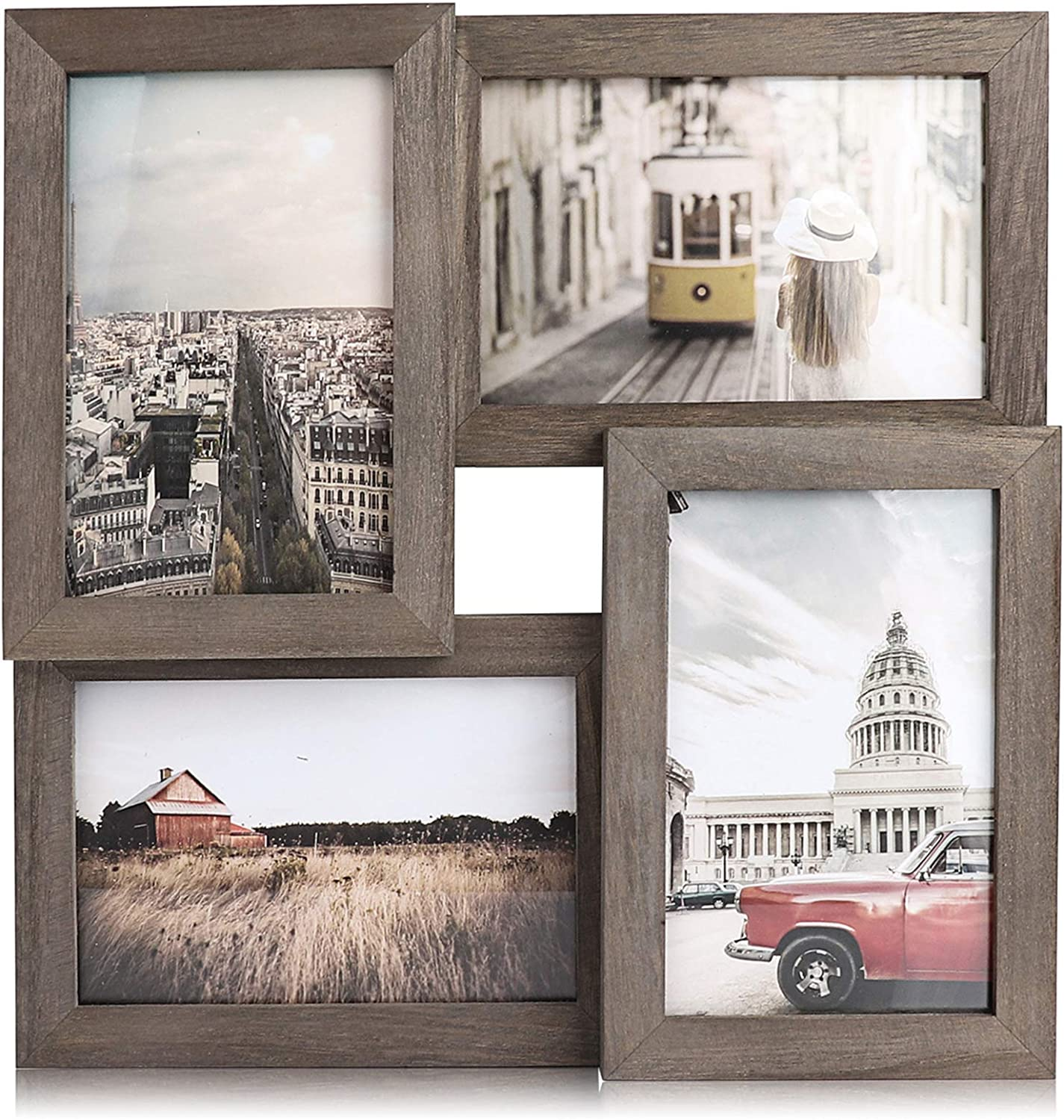 Emfogo 4x6 Picture Frames Wood Collage Picture Frames with High Definition Glass Multi Rustic Photo Frames for Wall and Desk Display Weathered Grey