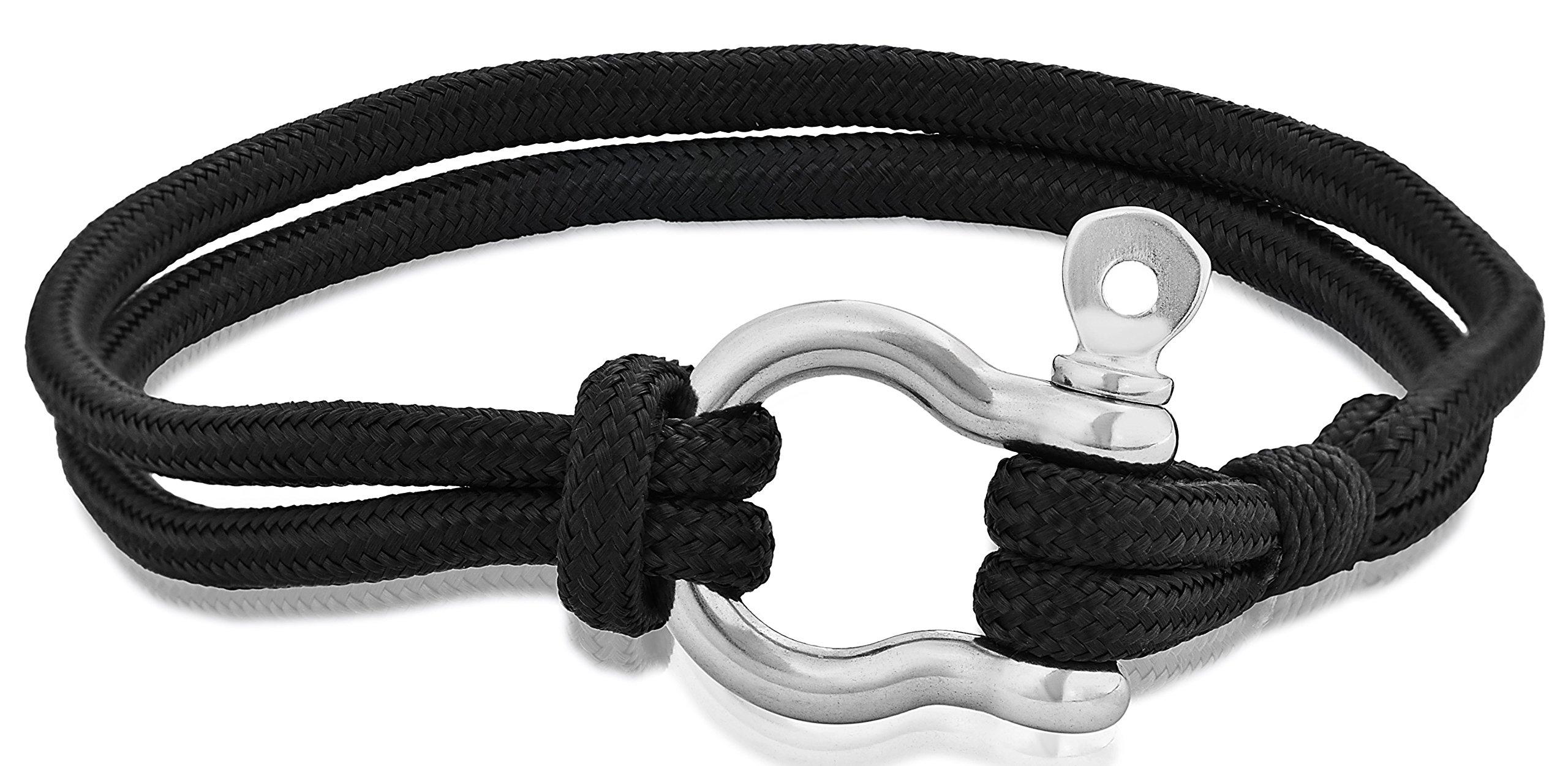 EDFORCE Stainless Steel Tactical Cord Bracelet, 8.25in