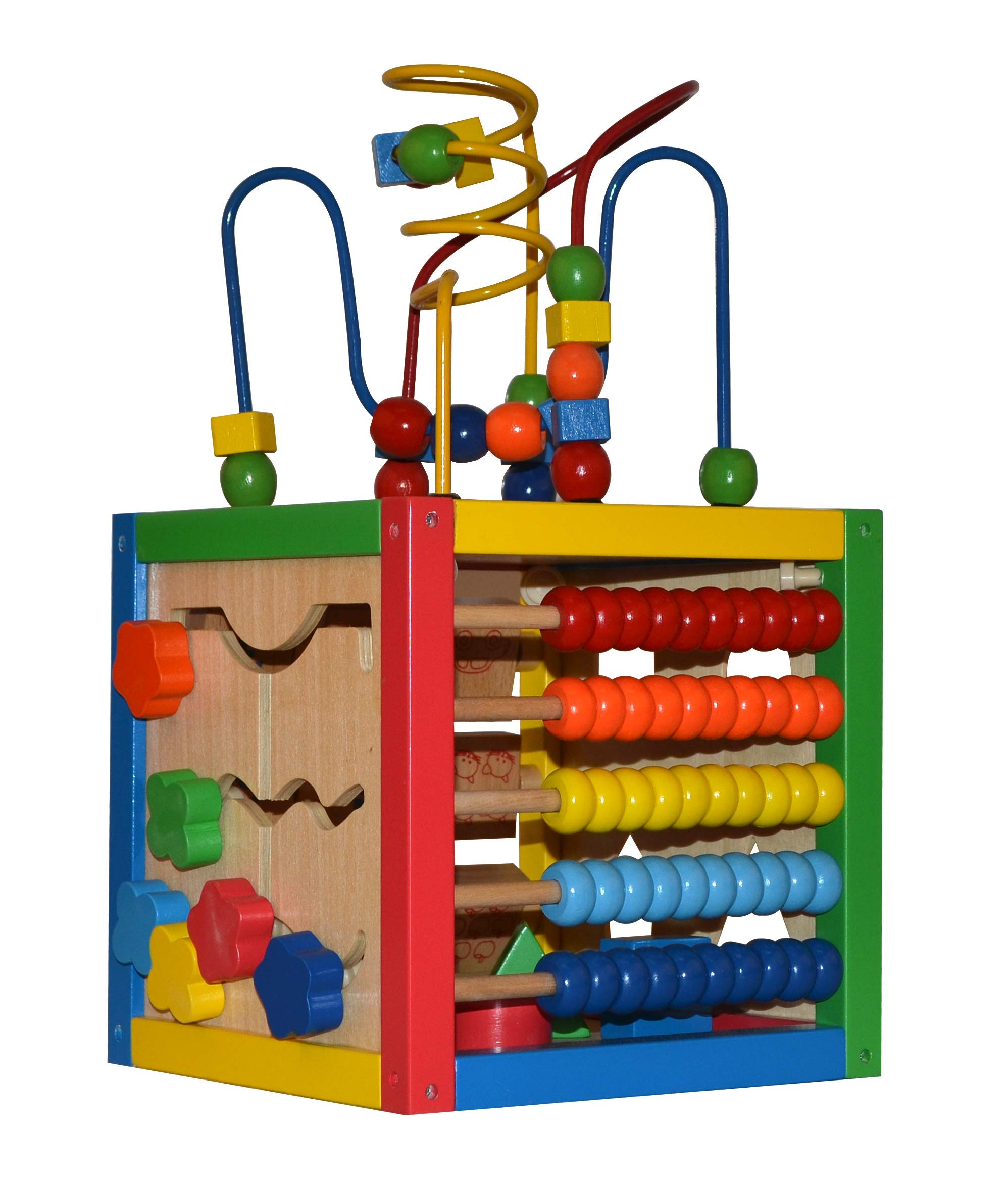 Play22 Activity Cube with Bead Maze - 5 in 1 Baby Activity Cube Includes Shape Sorter, Abacus Counting Beads, Counting Numbers, Sliding Shapes, Removable Bead Maze - My First Baby Toys - Original by Play22
