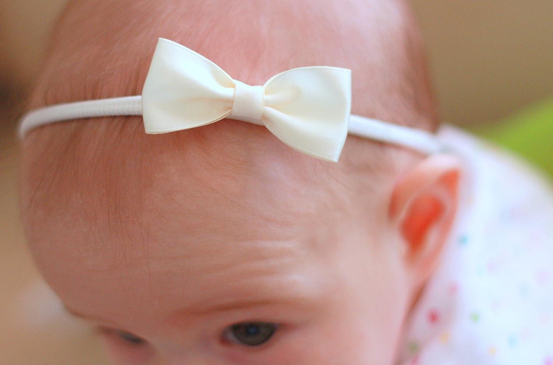 "Handmade glitter pastel 4/"" bows girls soft satin elastic headband"