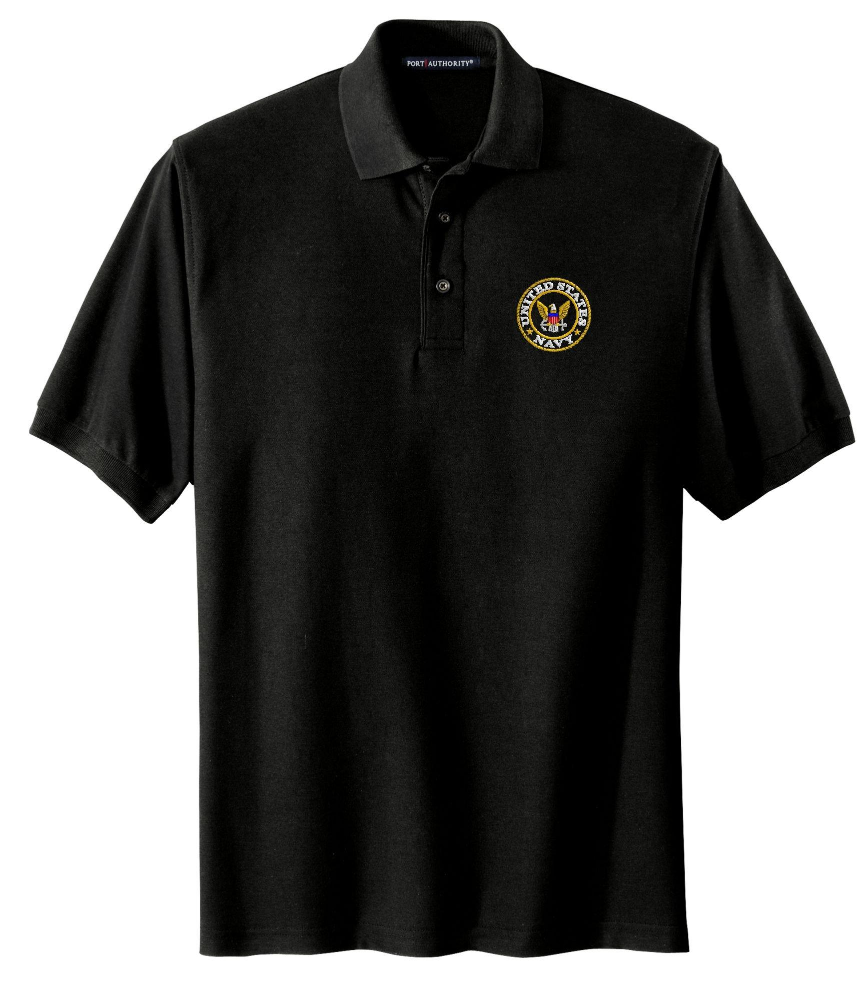 Spiffy Custom Gifts Mens U.S. Navy Logo Embroidered Polo Shirt 2XL Black