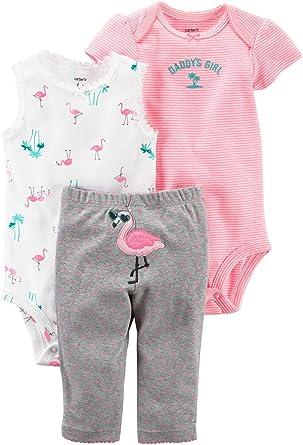3c79b2cecdd4 Amazon.com  Carter s Baby Girls  0M-24M 3 Piece Little Character Flamingo  Set  Clothing