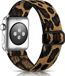 Getino Adjustable Elastic Band Compatible with Apple Watch 42mm 44mm iWatch SE & Series 6 5 4 3 2 1, Soft Stylish Cute Stretchy Woven Fabric Wristband for Women Men, Leopard Pattern