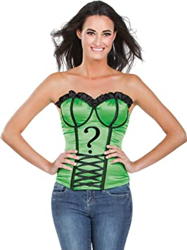 DC Comics Style Adult Corset Top with Logo The Riddler