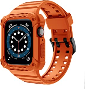 GELISHI Compatible with Apple Watch Band 44mm 42mm Series 6 Series 5 4 3 2 1 SE, TPU Rugged Sports Band with Shockproof Protective Case Bumper for Men Women , Orange