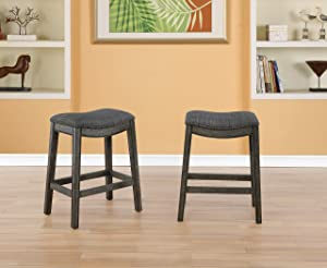 Roundhill Furniture Maroni Faric Upholstery Nailheaded Saddle Counter Stool, Set of 2, Gray