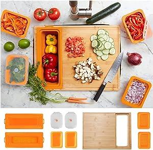 Soji ZenPrep Bamboo Cutting Board for Kitchen (Orange) - Over the Sink Strainer, Silicone Food Storage