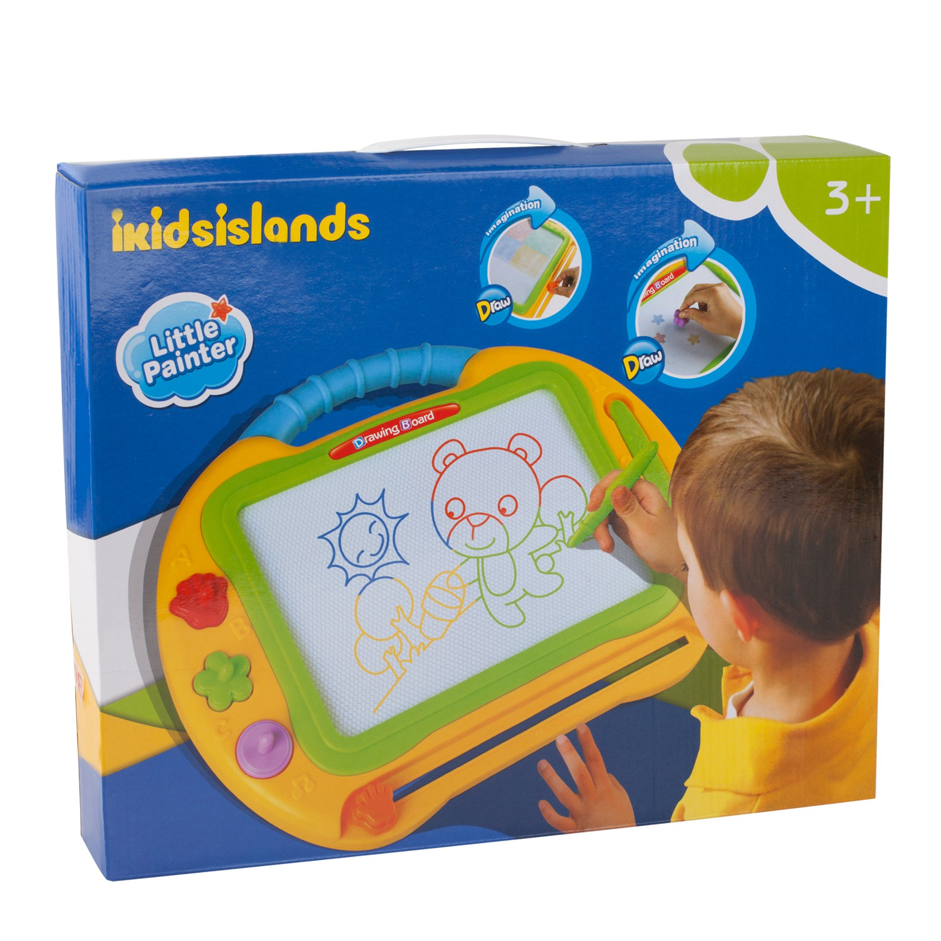ikidsislands IKS99Y [Travel Size] Color Magnetic Drawing Board for Kids & Toddlers - Non Toxic Large Magna Sketch Doodle Educational Toy for Boys, with 1 Pen & 2 Stamps (Yellow) by ikidsislands (Image #7)