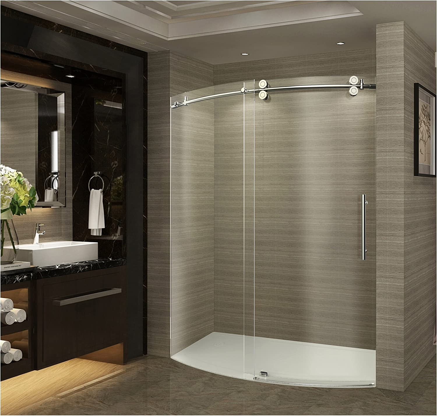 Aston Zenarch 60 X 75 Completely Frameless Bowfront Sliding Shower Door With Right Opening Polished Chrome Amazon Com