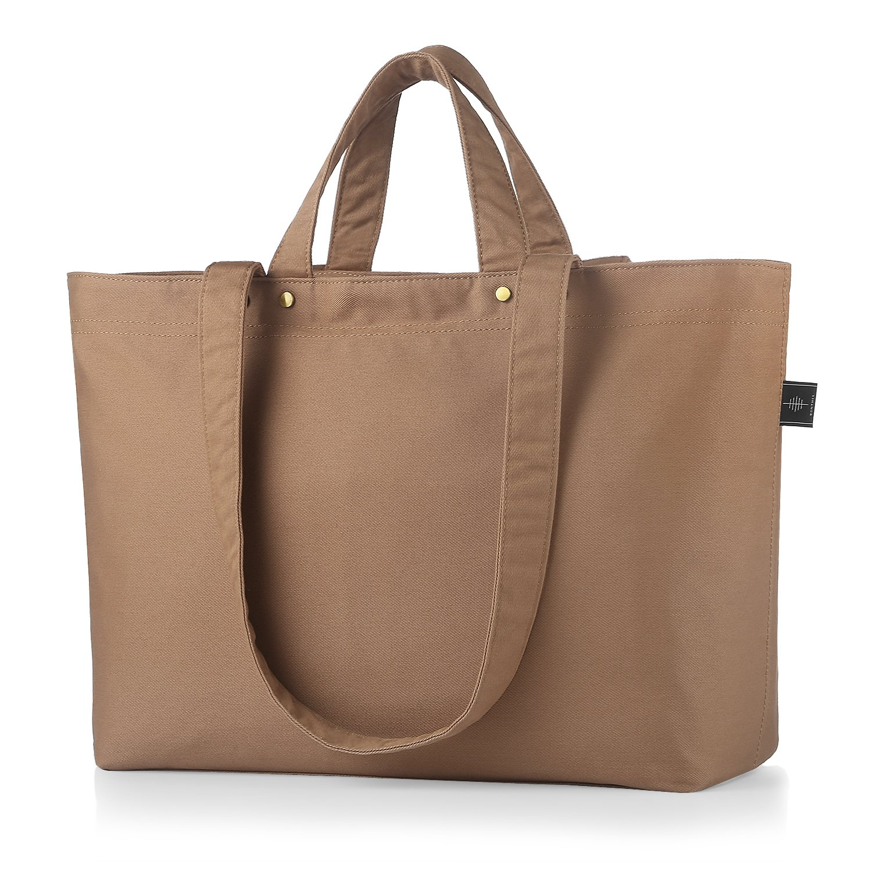 BONTHEE Canvas Tote Bag Handbag Women Large Shopper Shoulder Bag for School Travel Work - Light Coffee_Basic