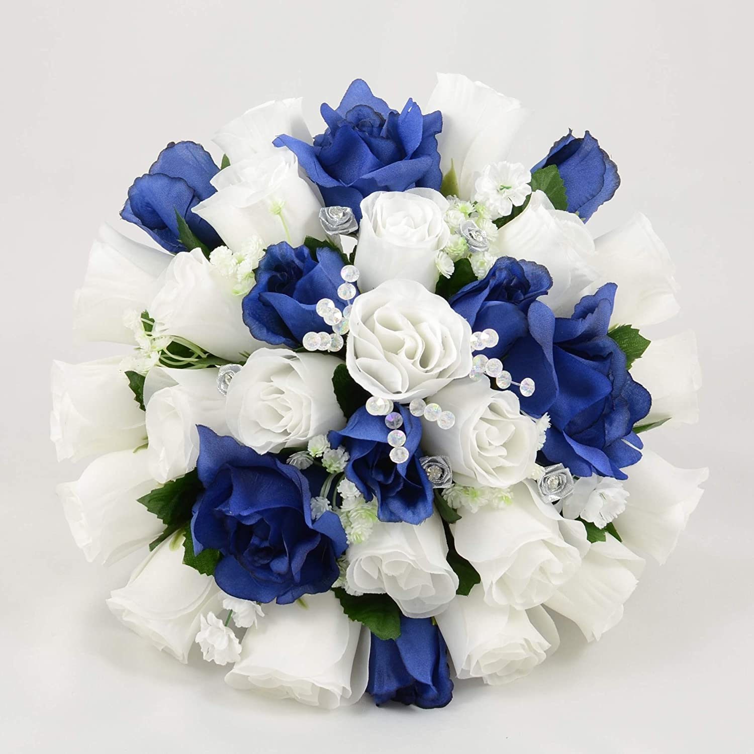 Silk Wedding Flowers Hand Made By Petals Polly Brides Posy White Navy Blue Amazon Co Uk Garden Outdoors