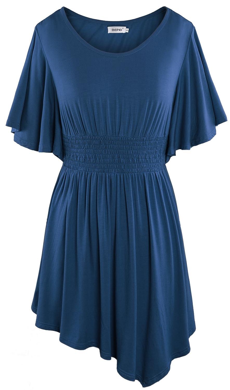 Bepei Damen Sommerkleid Festliches Kleid Mini Tunika Longshirt Stretch Kurzarm