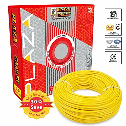 Plaza Wire 1.5 sq.mm CU PVC Insulated Industrial Cable 1100V -90MTR -Yellow