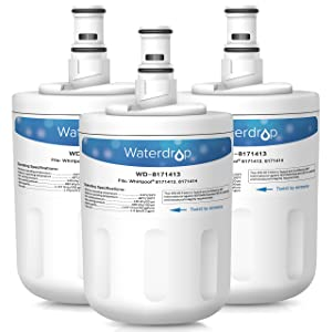 Waterdrop Refrigerator Water Filter, Compatible with Whirlpool 8171413, 8171414, EDR8D1, Kenmore 46-9002, Pack of 3